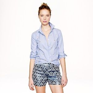 J. Crew Collection Blue Pyramid Brocade Shorts